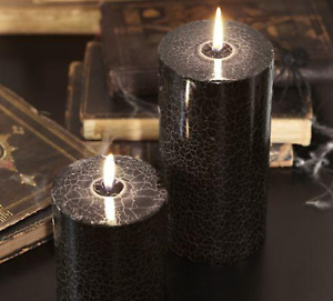 Pottery Barn Halloween Crackle Web Black Pillar Candle 4x4