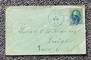 1880s 3c Fancy Blue Cancel Hunter NY to Lexington Greene County NY
