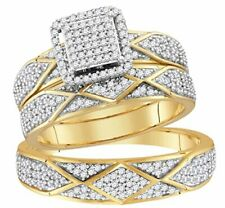 10K Gold His and Her Rings Trio Wedding Set 3/4ctw Natural Diamonds