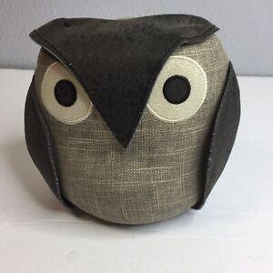 """Cute Owl Door Stopper Book Stopper Paper Weight Dora Design 5"""" 1/2 Grey Brown"""
