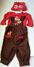 Gymboree Adorable Owl Overalls Bodysuit Hat Size 6-12 Months Brown Baby Girls