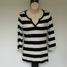 'SPORTSCRAFT 'XS' BLACK & WHITE STRIPED LONG SLEEVE LONG STRETCH TOP