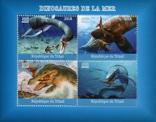 Chad 2018 CTO Aquatic Water Dinosaurs 4v M/S Stamps