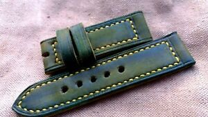 26mm Handmade leather watch strap, Military green, perfect to Panerai