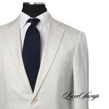 #1 MENSWEAR Raffaele Caruso Italy Cream Blue Stripe Silk Cashmere Mix Jacket 50
