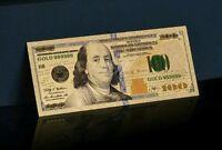 <NEW STYLE-PURPLE STRIP> GEM UNC. GOLD $100 DOLLAR Banknote Rep*W/COA~US SELLERk