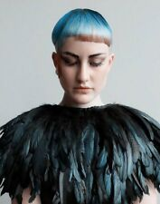 Black Iridescent Roster Cocque Layered Feather Wrap Shawl Shoulder Shrug Cape