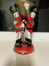 PartyLite Christmas P7704 Ceramic Toy Soldier Nutcracker Taper Candle Holder