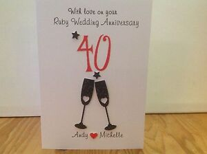 Handmade personalised Ruby wedding anniversary card- personalised with names