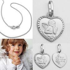 Gott schütze Dich Kinder Schutzengel im Strahlen Herz Echt Silber 925 mit Kette