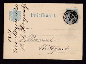 Netherlands VLAARDINGEN 5c W A Hoogendijk stationery card used 1894
