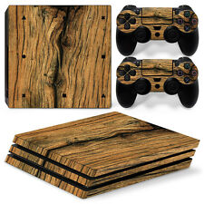 Sony PS4 PlayStation 4 Pro Skin Sticker Screen Protector Set - Old Wood Motif