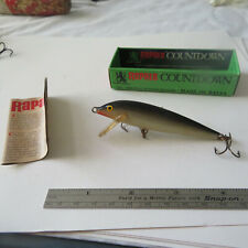 "FISHING LURE RAPALA  33/8"" COUNTDOWN FINLAND  BOX & CATALOG  BLACK & SILVER"