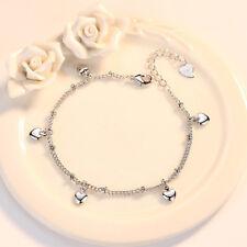 925 Sterling Silver Love Heart Chain Bracelet Women Jewellery