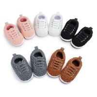 Toddler Kids Baby Girls Boy Cute Plush First Walk Lace-up Casual Keep Warm Shoes