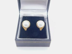 9mm Pearl And Diamond Stud Earring 10K Yellow Gold