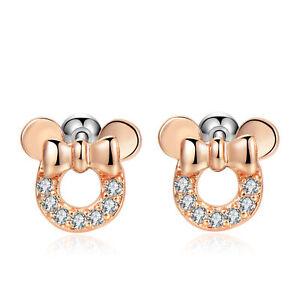 2pcs 18G Cubic Zirconia Cute Mouse Bow Earrings Safety Screw Back Earrings