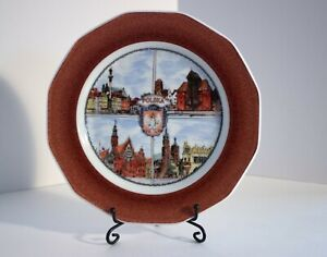 "6"" Decorative Plate Polska Lubiana Astral Handmade 4 Scenes Brown Rim Poland"