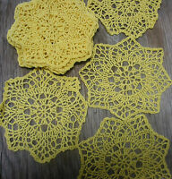 "dozen(12 psc) Hand Crochet Doilies 6"" Yellow  Vintage Lace Party Craft Motifs"
