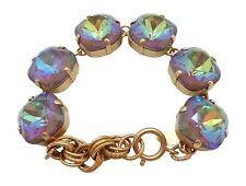 CATHERINE POPESCO 18mm Swarovski Crystal Ultra Coco Brown Gold Bracelet Adj
