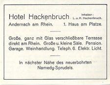 Hotel Hackenbruch Andernach am Rhein 1.Haus am Platze Historische Annonce 1906