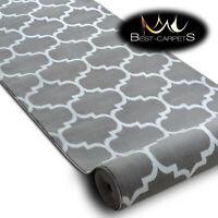 Modern Hall Carpet Runner BCF ANNA Trellis grey Stairs 60-120cm extra long RUGS