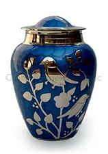 Cremation Urns Medium for Ashes - Blessing Birds Medium Urn ( Blue and Silver )