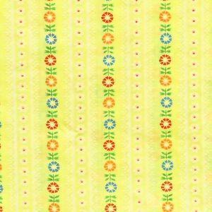 2.4 Yards 1970s Vintage Flocked Fabric Folk Floral Stripes Cotton Blend