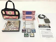 Nintendo DS Console PINK Nintendogs Version~ Games~ MarioKart Lot Bundle~ Works
