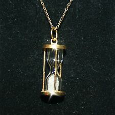 Hourglass Real Diamond Dust Bottle Pendant Necklace Yellow 14k Gold over 925 SS