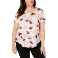 Alfani Womens Pink Floral Short Sleeve Tee T-Shirt Top Plus 0X BHFO 4912