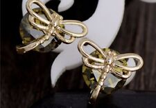 Boho Festival Party Boutique Uk Gold Green Dragonfly Luxury Fashion Earring