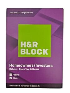 H&R Block 2019 Deluxe + State Homeowners/ Investors USA Tax Software 2019 Sealed