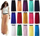 Women's Boho Chiffon Pleated Retro Long Maxi Beach Dress Elastic Waist Skirt