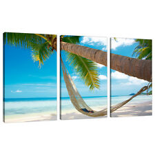 Set of 3 Beach Wall Art Canvas Pictures Blue Caribbean Maldives 3039