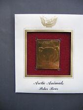 Arctic Animals Polar Bear 22kt Gold Golden Cover replica FDC FDI Stamp