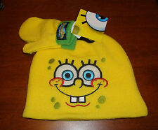 BOYS TODDLER SPONGEBOB HAT AND MITTENS SET  SIZE- TODDLER (ONE SIZE FITS ALL)