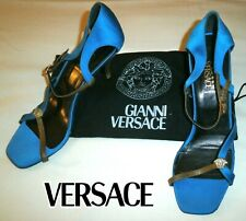 Gianni VERSACE ~blue silk sandals ~ US: 7.5 ; EUR: 37.5 ; UK: 4.5 * AUTHENTIC