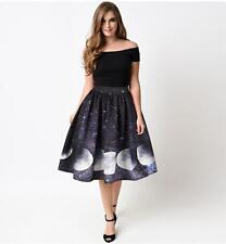 Flared Skirt Galaxy Stars & Moon printed Vintage Skirts S-XL Woman Flared Skirt