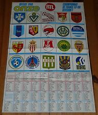 POSTER FOOTBALL 1987-1988 ONZE CALENDRIERS D1 D2 (GROUPE B) ECUSSONS CLUBS