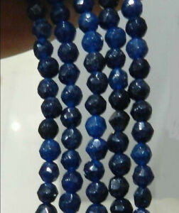 Genuine 4mm Natural Faceted Deep Blue Sapphire Gemstone Round Loose Beads 15''