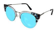 Lunettes de Soleil Cat Eyes Argent Noir Bleu Transparent by Ella Jonte UV 400 New