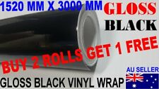 GLOSS BLACK CAR VINYL WRAP ROLL FILM STICKER 1.52M X 3 METRE FREE SQUEEGEE OZ