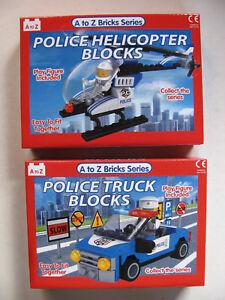 Building Blocks Bricks Set Kids Toys Build Police Truck Helicopter Car AZ Series