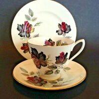 Royal Albert Masquerade Set - Cup Saucer Plate - Black And Red Roses - England