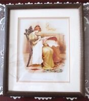 Victorian MOTHERS DARLING Baby Framed Reproduction Print Antique Art Co.