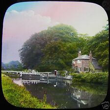 HAND COLOURED Glass Magic Lantern Slide TEMPLE LOCK C1890 PHOTO ENGLAND CANAL