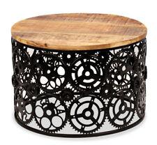 Round Industrial Coffee Side Table Vintage Furniture Solid Wood Metal Rustic