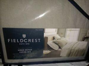 Fieldcrest Flores 100% Linen Duvet Cover + Shams Bed Set Gray Full/Queen