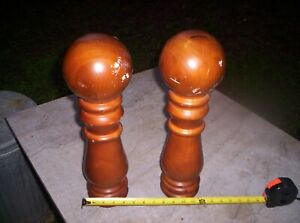 2 - Large vintage Wood Staircase Banister Finial Newel Post caps